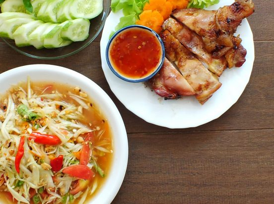 Green Papaya Salad with Grilled Chicken (Som Tum Gai Yang)