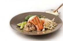 Salmon Steak with Wasabi Sauce and Soba Noodles