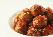 Beef and Water Chestnut Patties in Sweet and Sour Sauce