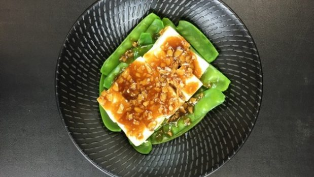 Steamed Tofu with Snow Pea Shoots and Oyster Sauce
