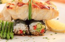 Marinated Grilled Kingfish with Vegetable Nori Rolls