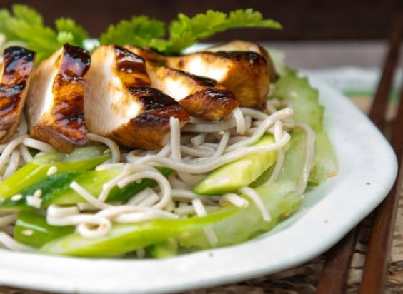 Soba Noodle Salad with Warm Teriyaki Chicken
