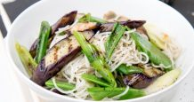 Somen Noodle Salad with Eggplant, Sugar Snap Peas and Lime Dressing