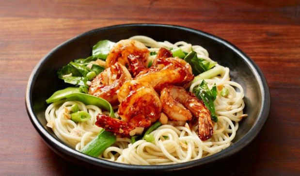 Hoi Sin Stir-Fry Prawns with Ramen Noodles and Chinese Broccoli