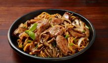 Cantonese Soy Garlic Pork Fillet and Mushrooms with Egg Noodles