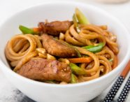 Sticky Pork and Vegetable Stir-Fry with Udon Noodles
