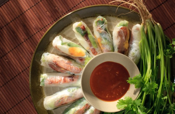 Pan-Fried Pork Patty in Vietnamese Rice Paper Roll