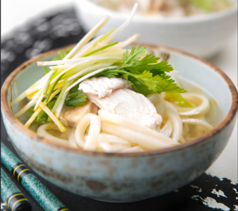 Udon Chicken Soup with Coriander and Ginger