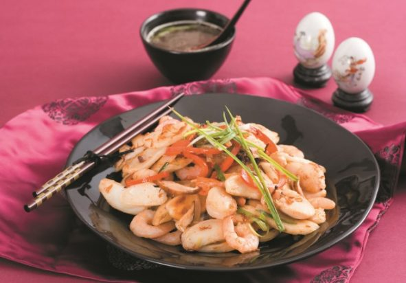 Stir Fried Rice Cake With Seafood Asian Inspirations