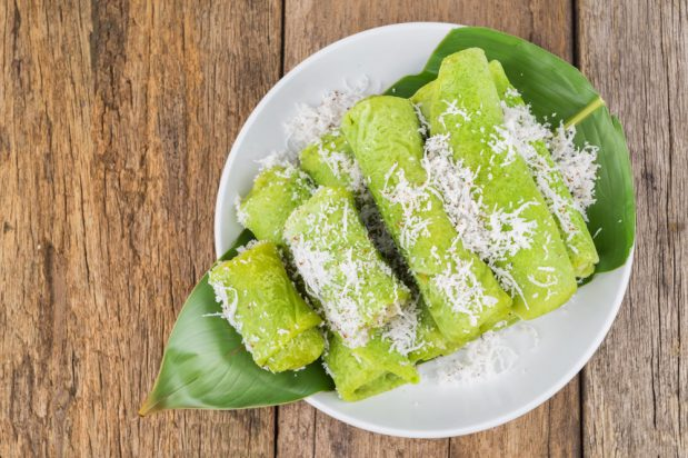 Indonesian Pandan Crepe with Sweet Coconut Filling (Dadar Gulung)