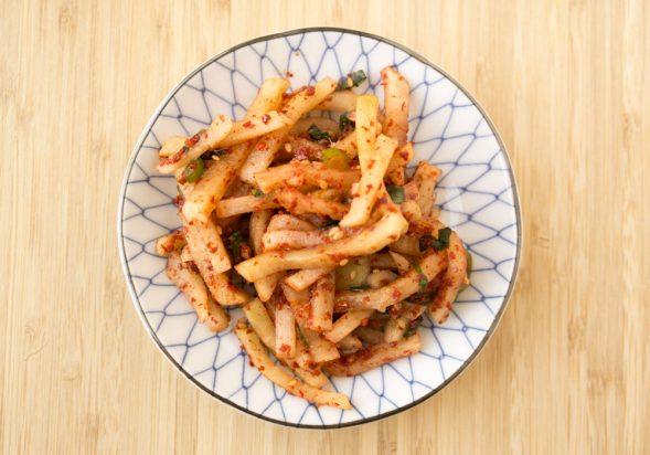 Spicy Korean Radish (Mu Saengchae Namul)