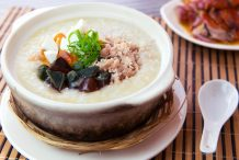Minced Pork with Century Egg and Salted Egg Congee