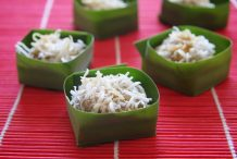 Steamed Chinese Lunar New Year Cake with Coconut (Steamed Nian Gao Balls with Coconut)