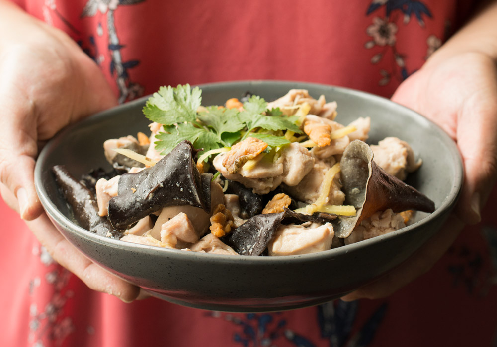 Steamed Chicken With Salted Fish And Black Fungus Asian