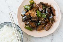 Korean Stir Fried Eggplants (Gaji Bokkeum)