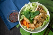 Vegan Tofu and Spring Roll Vermicelli Salad