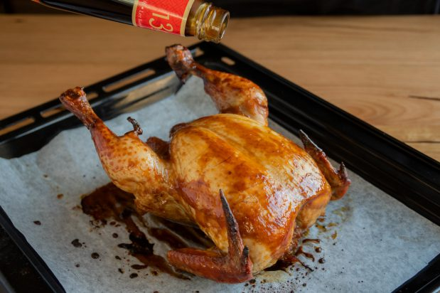 Roast Chicken with Honey and Oyster Sauce Glaze