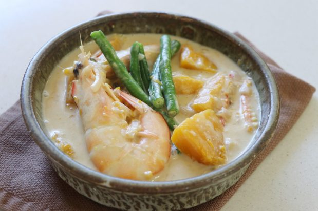 Prawn and Vegetables in Coconut Milk (Ginataang Kalabasa, Sitaw At Hipon)