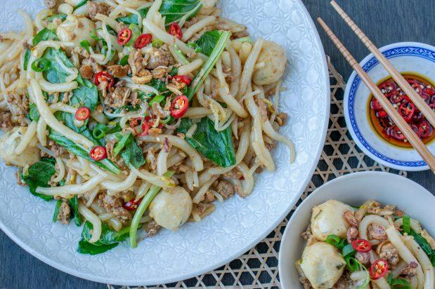 Fried Loh Shi Fun with Minced Pork