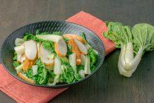 Stir Fried White Baby Bok Choy with Fish Cake