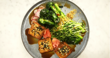 Braised Teriyaki Tofu with Steamed Broccolini and Sprouts