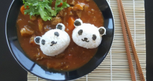 Japanese Lamb Curry with Panda Shaped Rice Balls