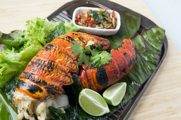 Grilled Lobster with Spicy Basil Garlic Sauce