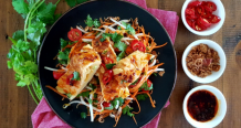 Prawn Omelette with Bean Sprout Salad