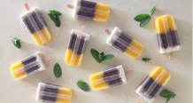 Thai Black Sticky Rice Popsicle with Coconut and Mango