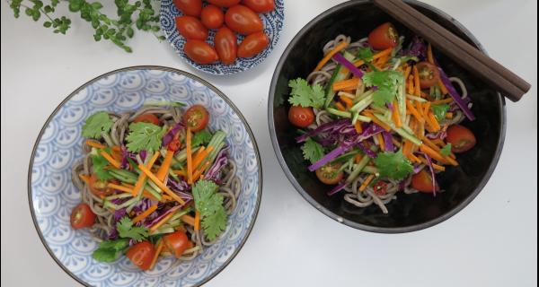 Spicy Rainbow Soba Noodle Salad