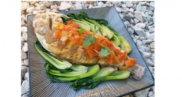 Whole Snapper with Vietnamese Sauteed Tomatoes and Bokchoy