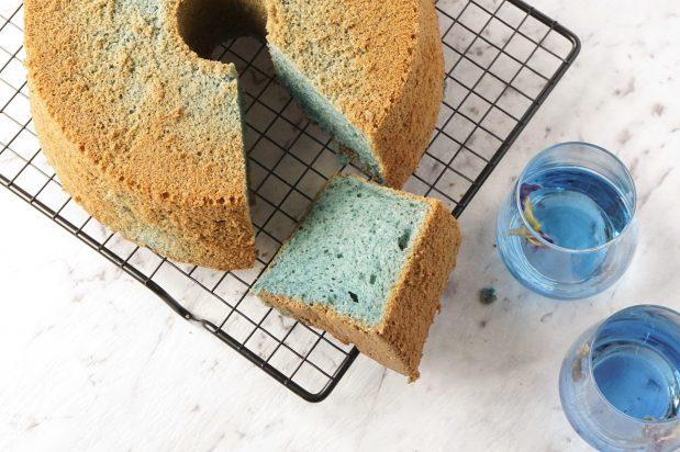 Blue Butterfly Pea Flower Chiffon Cake
