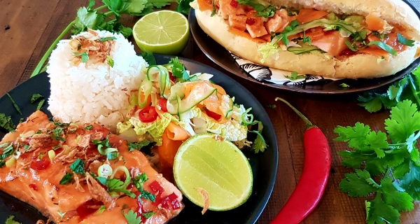 Caramelised Salmon with Pickled Carrot Salad (Two Ways)