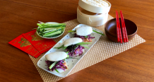 Grilled Miso Salmon and Japanese Coleslaw in Steamed Bao