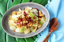 Stir Fried Cabbage with Dried Shrimps and Glass Noodles
