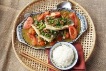 Braised Barramundi with Tomatoes and Pickled Mustard Greens