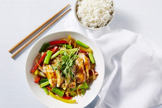 Stir Fried Chicken Thigh And Spring Onion With Oyster
