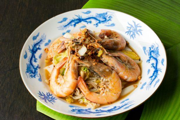 Stir Fried Wombok with Prawns