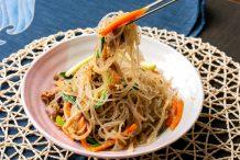 Korean Stir Fried Noodles with Beef and Vegetables (Japchae)