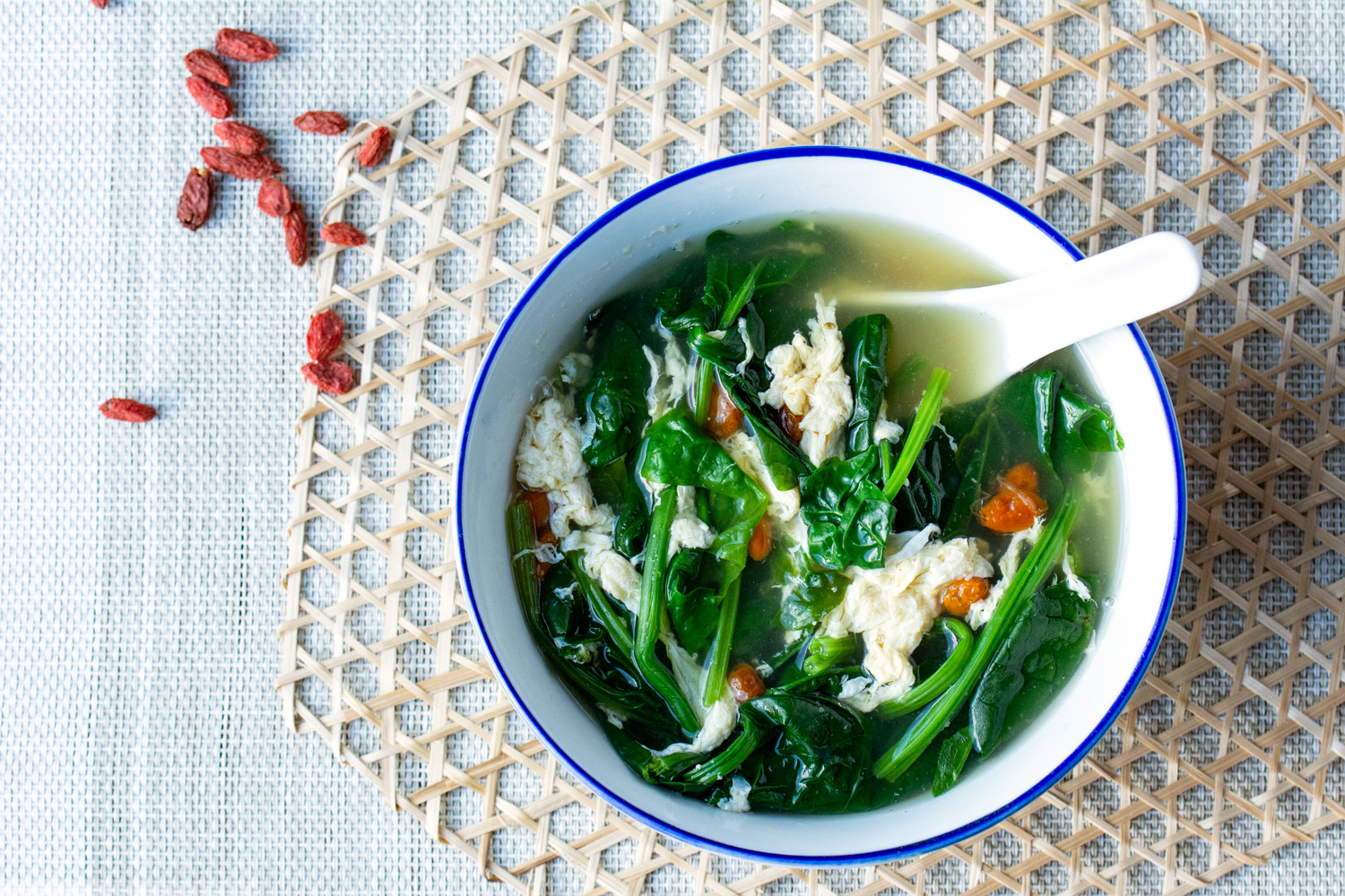 Chinese Spinach Egg Drop Soup With Gojiberries Asian Inspirations