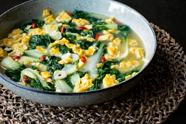 Baby Bok Choy with Scrambled Eggs in Superior Broth