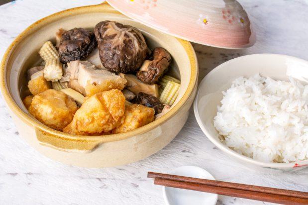 Braised Tofu with Roast Pork and Mushrooms
