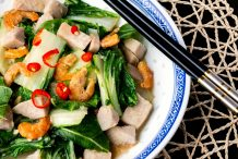 Stir Fry White Bok Choy with Dried Shrimps and Yam