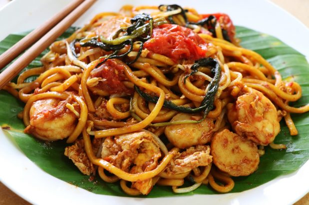 Medan Spicy Stir Fried Noodles with Shrimp Paste and Water Spinach