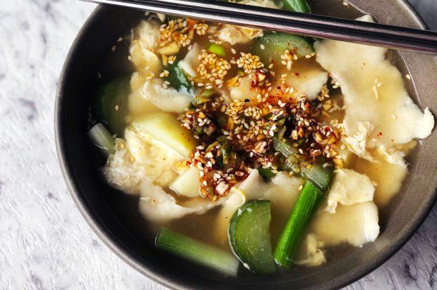 Dough Flake Soup with Potatoes (Gamja Sujebi)