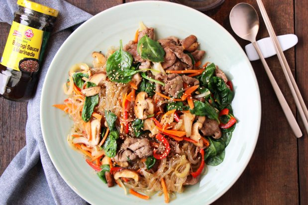 Korean Stir-Fried Noodles with Beef (Japchae)