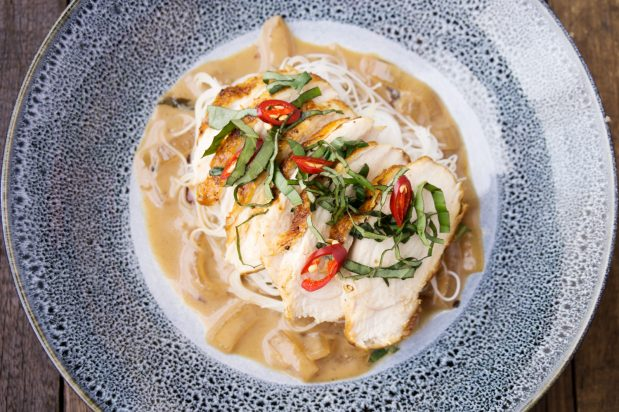 Pan-fried Chicken Breast with Thai-style Noodles