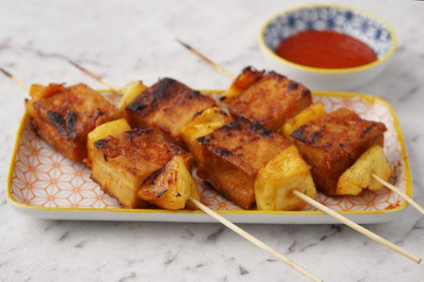 Vegan Barbecued Sriracha Tofu Skewers with Pineapple