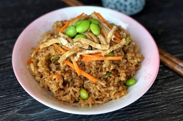 Japanese Fried Rice with Edamame and Fried Tofu