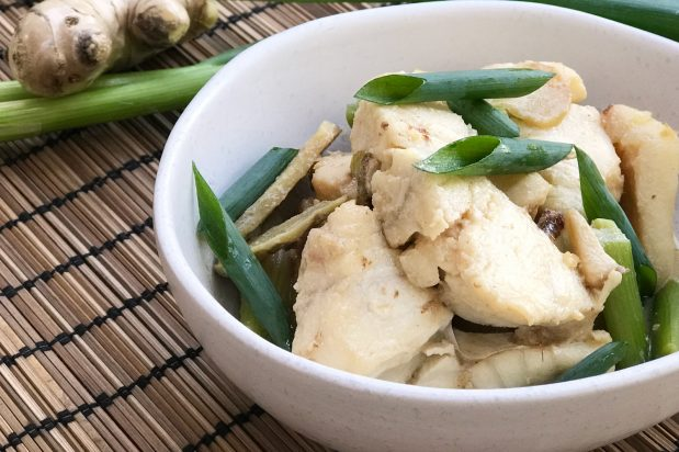 Chinese Stir Fried Fish Fillet with Ginger and Spring Onions